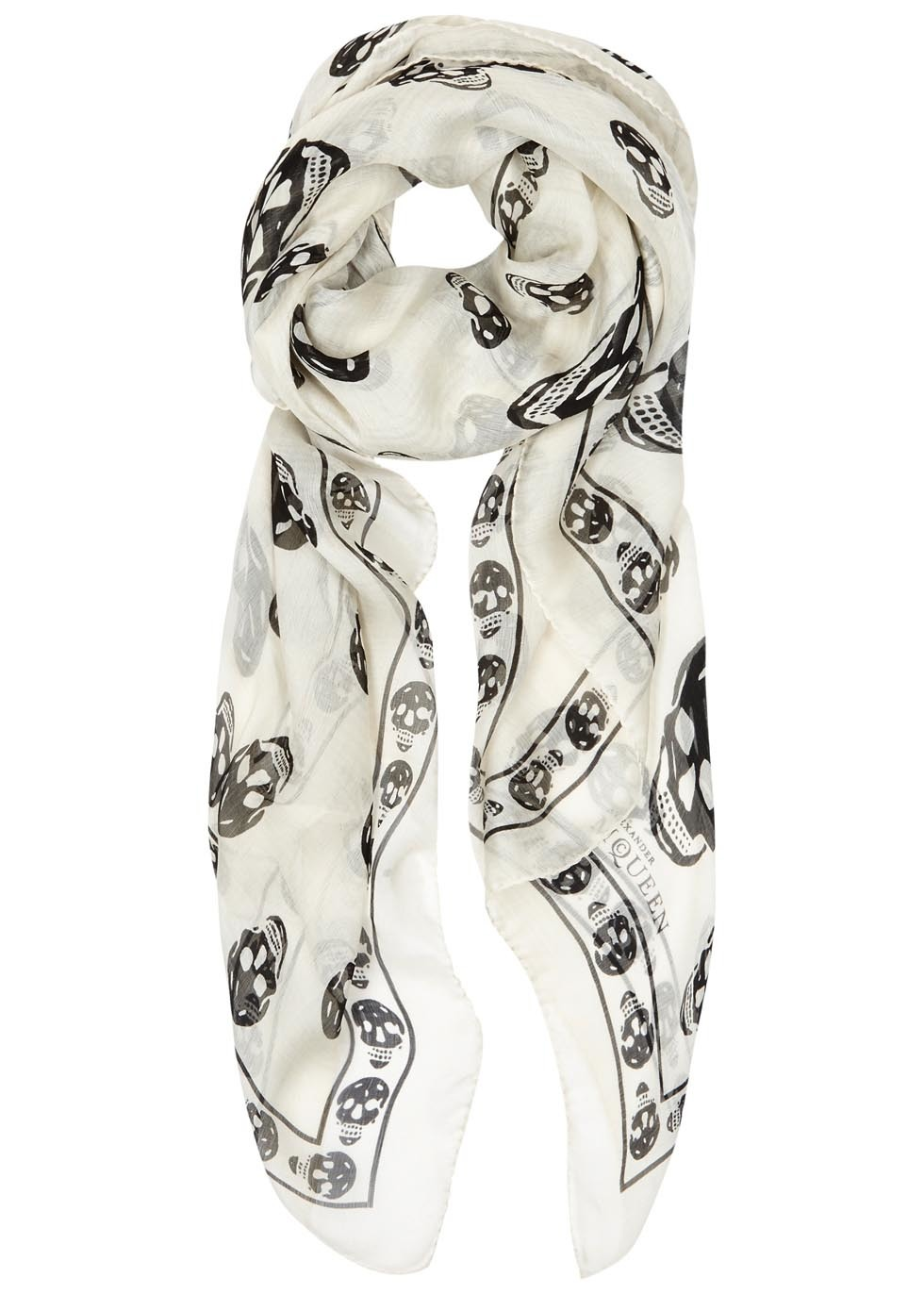 Cream Skull Print Silk Chiffon Scarf - predominant colour: white; secondary colour: black; occasions: casual; type of pattern: light; style: regular; size: standard; material: silk; trends: monochrome; pattern: patterned/print; multicoloured: multicoloured; season: a/w 2016
