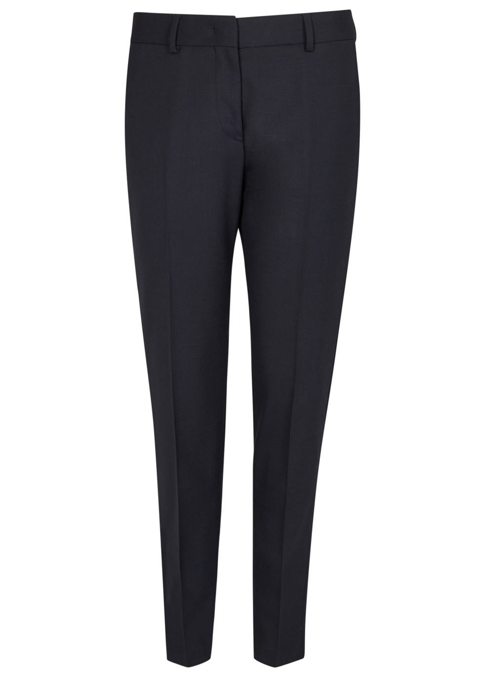 Navy Cropped Wool Trousers - length: standard; pattern: plain; waist: mid/regular rise; predominant colour: navy; occasions: work; fibres: wool - stretch; waist detail: feature waist detail; fit: slim leg; pattern type: fabric; texture group: woven light midweight; style: standard; wardrobe: basic; season: a/w 2016