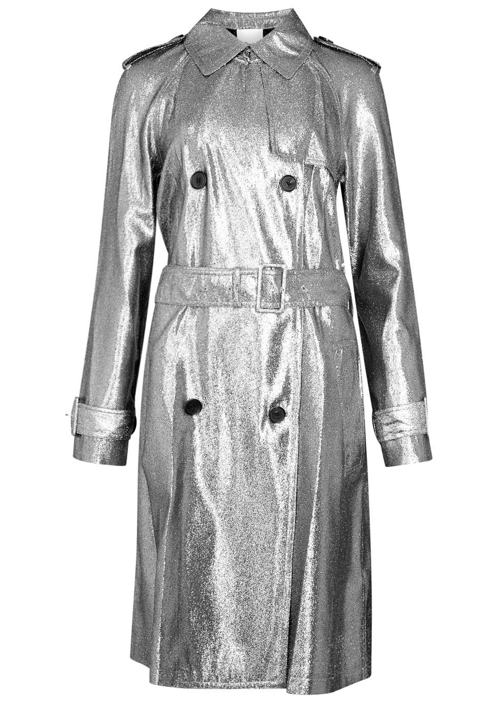 Silver Lamé Trench Coat - pattern: plain; style: cape; length: mid thigh; predominant colour: silver; occasions: casual, creative work; fit: tailored/fitted; fibres: viscose/rayon - stretch; collar: shirt collar/peter pan/zip with opening; waist detail: belted waist/tie at waist/drawstring; sleeve length: long sleeve; sleeve style: standard; texture group: technical outdoor fabrics; collar break: high; pattern type: fabric; pattern size: standard; season: a/w 2016; wardrobe: highlight