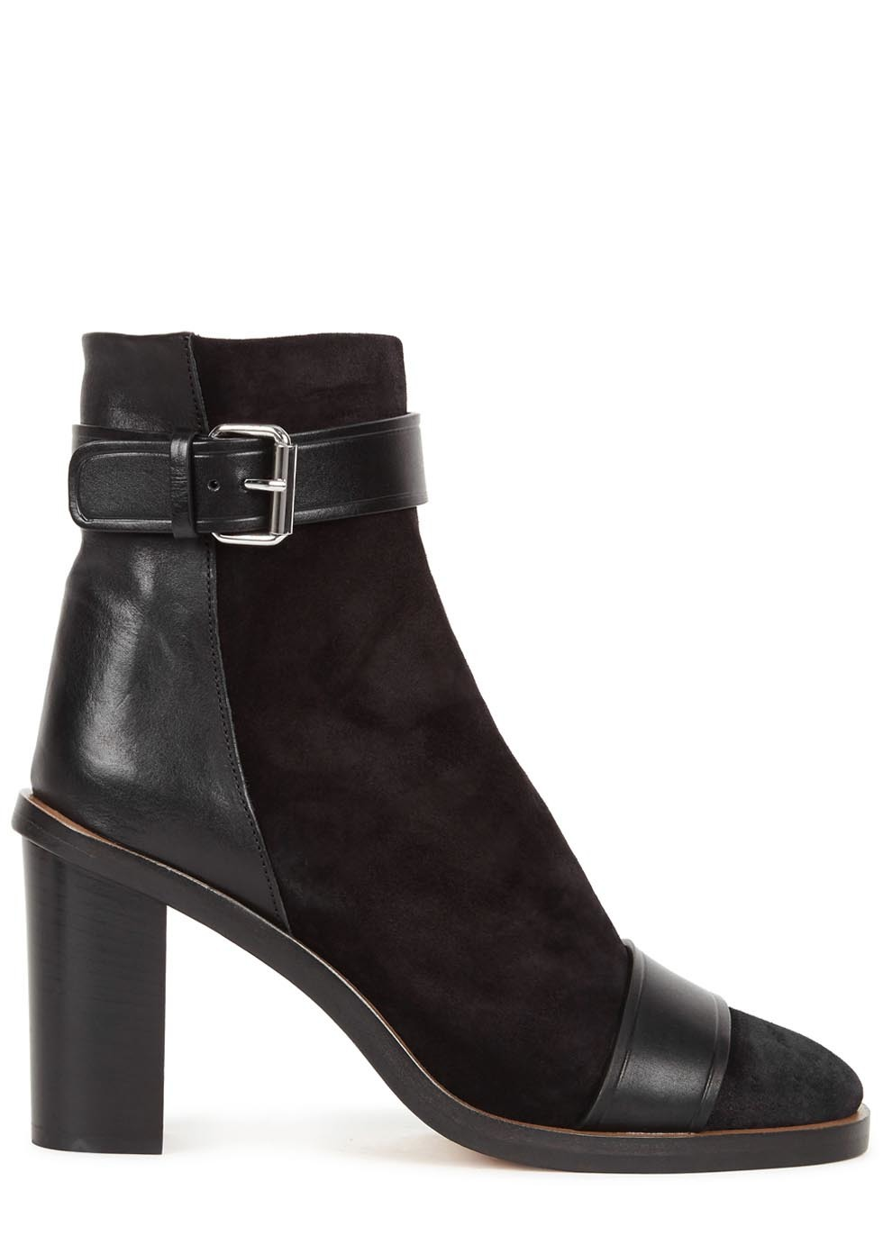 Gussie Black Suede And Leather Ankle Boots - predominant colour: black; occasions: casual, creative work; material: suede; heel height: high; heel: block; toe: round toe; boot length: ankle boot; style: standard; finish: plain; pattern: plain; season: a/w 2016