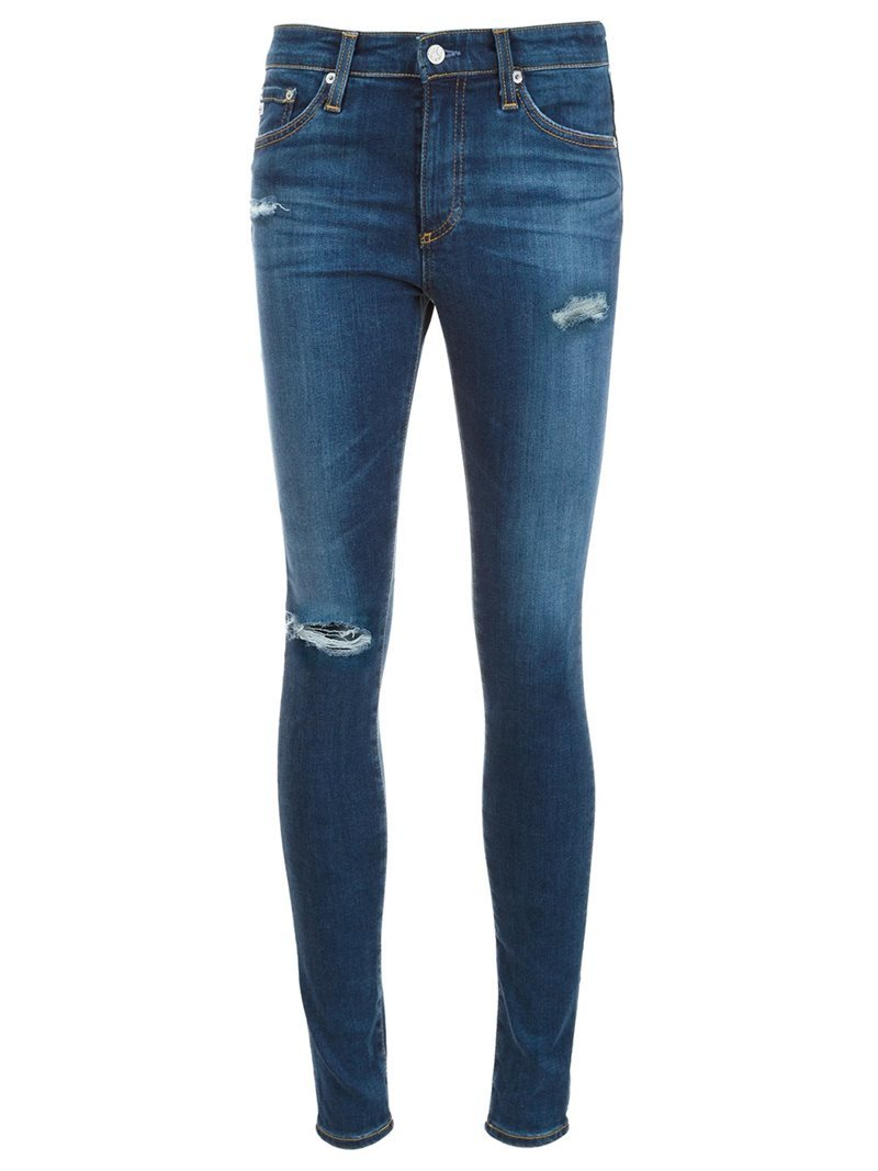 Distressed Skinny Jeans, Women's, Blue - style: skinny leg; length: standard; pattern: plain; pocket detail: traditional 5 pocket; waist: mid/regular rise; predominant colour: navy; occasions: casual; fibres: cotton - stretch; jeans detail: shading down centre of thigh, rips; texture group: denim; pattern type: fabric; wardrobe: basic; season: a/w 2016