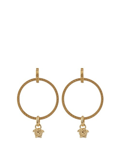 Medusa Hoop Earrings - predominant colour: gold; occasions: evening, occasion; style: hoop; length: mid; size: large/oversized; material: chain/metal; fastening: pierced; finish: metallic; season: a/w 2016; wardrobe: event