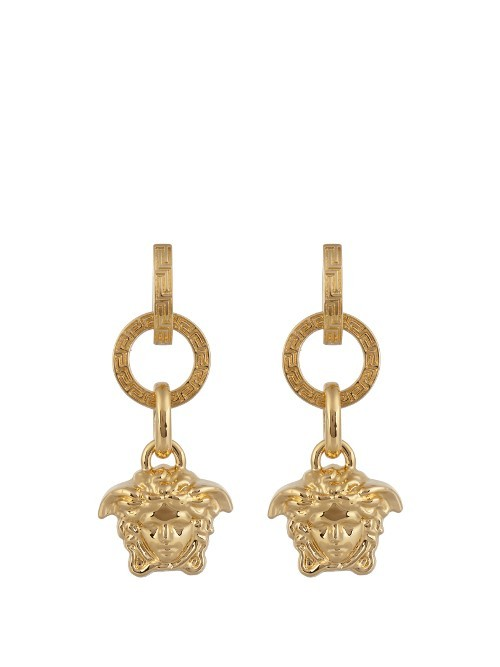 Medusa Drop Earrings - predominant colour: gold; occasions: evening, occasion; style: drop; length: mid; size: standard; material: chain/metal; fastening: pierced; finish: metallic; season: a/w 2016; wardrobe: event