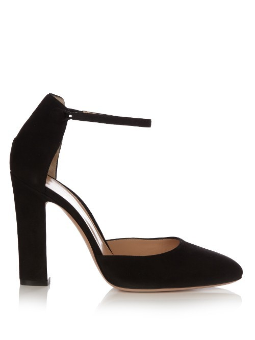 54 Suede Pumps - predominant colour: black; occasions: evening; material: suede; heel height: high; ankle detail: ankle strap; heel: block; toe: pointed toe; style: courts; finish: plain; pattern: plain; season: a/w 2016; wardrobe: event