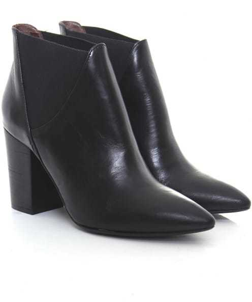 Crispin Leather Boots - predominant colour: black; occasions: casual, creative work; material: leather; heel height: high; heel: block; toe: pointed toe; boot length: ankle boot; style: standard; finish: patent; pattern: plain; season: a/w 2016; wardrobe: highlight