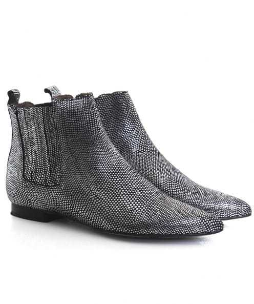 Reine Lizard Chelsea Boots - predominant colour: silver; occasions: casual, creative work; material: leather; heel height: flat; heel: standard; toe: pointed toe; boot length: ankle boot; style: standard; finish: plain; pattern: plain; season: a/w 2016; wardrobe: highlight