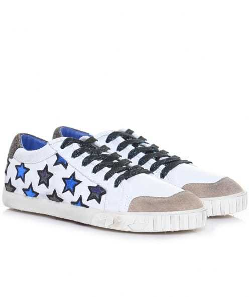 Majestic Star Motif Trainers - predominant colour: ivory/cream; secondary colour: navy; occasions: casual; material: leather; heel height: flat; toe: round toe; style: trainers; finish: plain; pattern: patterned/print; multicoloured: multicoloured; season: a/w 2016; wardrobe: highlight
