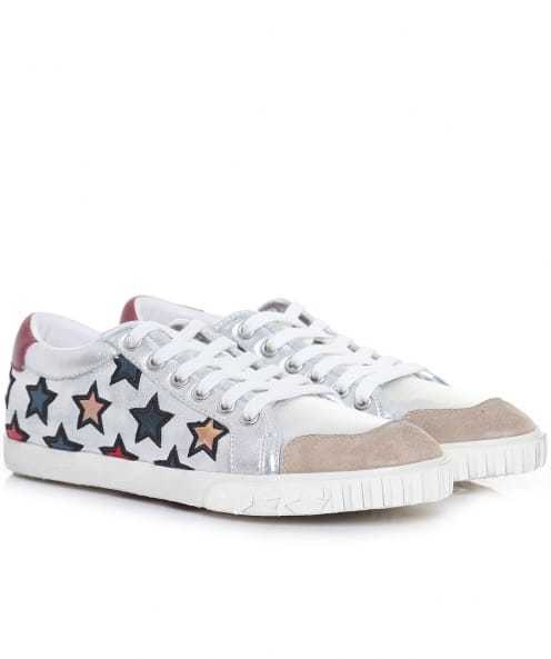 Majestic Star Motif Trainers - predominant colour: white; secondary colour: nude; occasions: casual; material: leather; heel height: flat; toe: round toe; style: trainers; finish: plain; pattern: patterned/print; multicoloured: multicoloured; season: a/w 2016; wardrobe: highlight