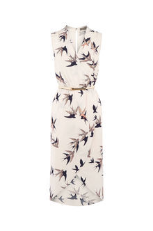 Bird Wrap Midi Dress - style: faux wrap/wrap; neckline: v-neck; sleeve style: sleeveless; waist detail: belted waist/tie at waist/drawstring; predominant colour: ivory/cream; secondary colour: charcoal; occasions: evening; length: on the knee; fit: body skimming; fibres: viscose/rayon - 100%; sleeve length: sleeveless; pattern type: fabric; pattern: patterned/print; texture group: jersey - stretchy/drapey; multicoloured: multicoloured; season: a/w 2016; wardrobe: event