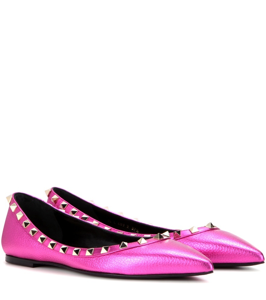 Garavani Rockstud Leather Ballerinas - predominant colour: pink; occasions: casual; material: leather; heel height: flat; embellishment: studs; toe: pointed toe; style: ballerinas / pumps; finish: patent; pattern: plain; season: a/w 2016; wardrobe: highlight