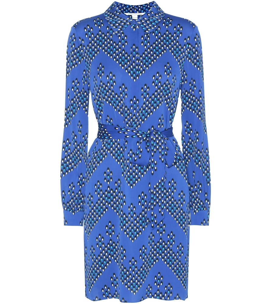 Seanna Printed Silk Dress - style: shirt; neckline: shirt collar/peter pan/zip with opening; waist detail: belted waist/tie at waist/drawstring; predominant colour: denim; secondary colour: charcoal; occasions: evening; length: just above the knee; fit: body skimming; fibres: silk - 100%; sleeve length: long sleeve; sleeve style: standard; texture group: silky - light; pattern type: fabric; pattern: patterned/print; multicoloured: multicoloured; season: a/w 2016; wardrobe: event