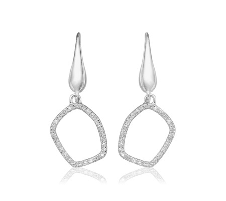 Riva Mini Hoop Earrings Diamond - predominant colour: silver; occasions: evening, occasion; style: chandelier; length: mid; size: large/oversized; material: chain/metal; fastening: pierced; finish: metallic; embellishment: crystals/glass; season: a/w 2016; wardrobe: event