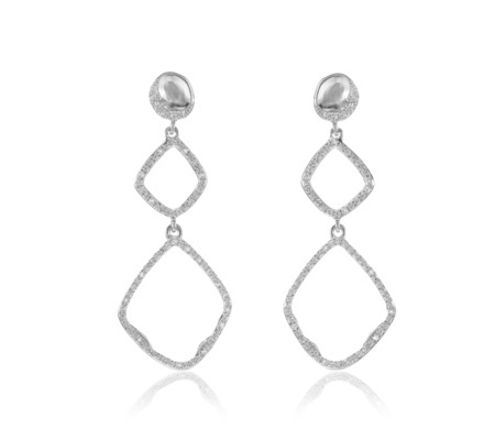 Riva Diamond Hoop Cocktail Earrings Diamond - predominant colour: silver; occasions: evening, occasion; style: drop; length: long; size: standard; material: chain/metal; fastening: pierced; finish: metallic; embellishment: crystals/glass; season: a/w 2016; wardrobe: event
