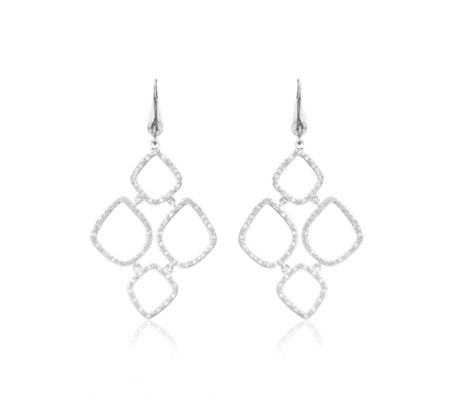 Sterling Silver Riva Diamond Cluster Drop Earrings Diamond - predominant colour: silver; occasions: evening, occasion; style: drop; length: long; size: large/oversized; material: chain/metal; fastening: pierced; finish: metallic; embellishment: crystals/glass; season: a/w 2016; wardrobe: event