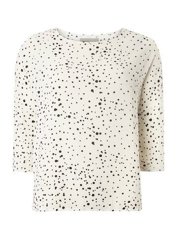 Womens **Vero Moda Spot Blouse Black - style: blouse; predominant colour: ivory/cream; secondary colour: black; occasions: casual, creative work; length: standard; fibres: polyester/polyamide - 100%; fit: straight cut; neckline: crew; sleeve length: 3/4 length; sleeve style: standard; pattern type: fabric; pattern: patterned/print; texture group: woven light midweight; season: a/w 2016