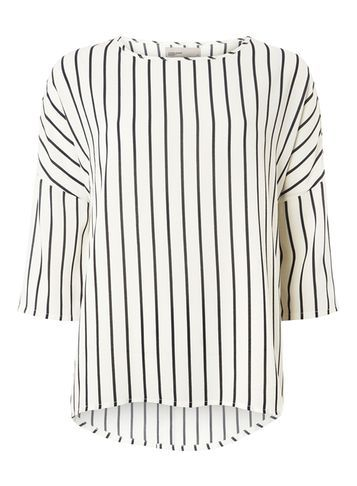 Womens **Vero Moda Black And White Stripe Blouse Black - pattern: striped; predominant colour: white; secondary colour: black; occasions: casual; length: standard; style: top; fibres: polyester/polyamide - 100%; fit: body skimming; neckline: crew; sleeve length: short sleeve; sleeve style: standard; pattern type: fabric; texture group: other - light to midweight; multicoloured: multicoloured; season: a/w 2016; wardrobe: highlight