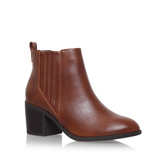Taurus - predominant colour: chocolate brown; occasions: casual; material: leather; heel height: mid; heel: block; toe: round toe; boot length: ankle boot; style: standard; finish: plain; pattern: plain; wardrobe: basic; season: a/w 2016