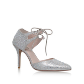 Grayson - predominant colour: silver; occasions: evening; material: leather; heel height: high; embellishment: glitter; ankle detail: ankle tie; heel: stiletto; toe: pointed toe; style: courts; finish: plain; pattern: plain; season: a/w 2016; wardrobe: event