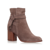 Sleepy - occasions: casual, creative work; material: suede; heel height: mid; heel: block; toe: round toe; boot length: ankle boot; style: standard; finish: plain; pattern: plain; predominant colour: dusky pink; season: a/w 2016; wardrobe: highlight
