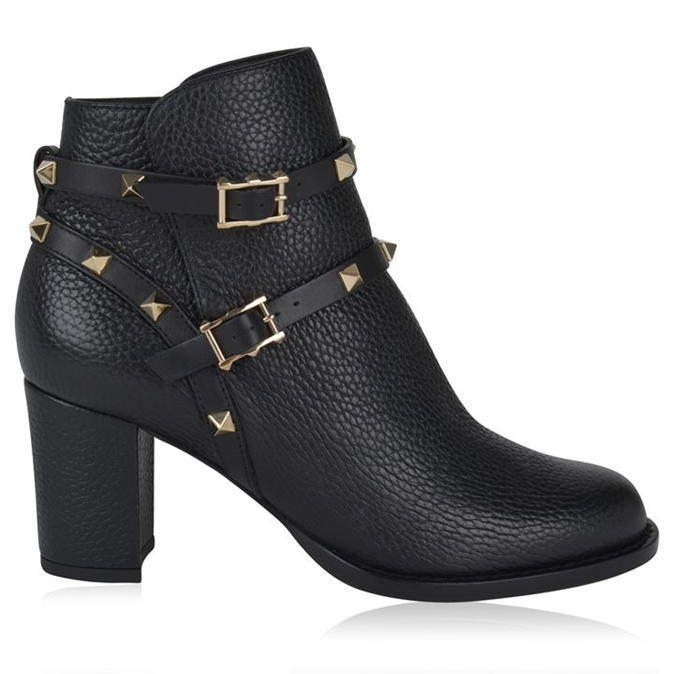 Rockstud Boots - predominant colour: black; occasions: casual; material: leather; heel height: high; embellishment: studs; heel: block; toe: round toe; boot length: ankle boot; style: standard; finish: plain; pattern: plain; season: a/w 2016; wardrobe: highlight