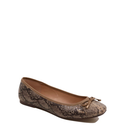 Faux Snakeskin Ballet Shoes Tan - predominant colour: stone; occasions: casual; material: faux leather; heel height: flat; toe: round toe; style: ballerinas / pumps; finish: plain; pattern: animal print; season: a/w 2016; wardrobe: highlight