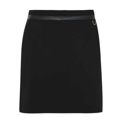 Faux Leather Trim Skirt Black - length: mini; pattern: plain; fit: tailored/fitted; waist: high rise; predominant colour: black; occasions: evening; style: mini skirt; fibres: polyester/polyamide - 100%; texture group: crepes; pattern type: fabric; season: a/w 2016; wardrobe: event