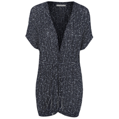 Belted Short Sleeve Textured Cardigan Navy - pattern: plain; neckline: collarless open; style: open front; predominant colour: navy; occasions: casual, creative work; fibres: cotton - mix; fit: standard fit; length: mid thigh; waist detail: belted waist/tie at waist/drawstring; sleeve length: short sleeve; sleeve style: standard; texture group: knits/crochet; pattern type: knitted - fine stitch; wardrobe: basic; season: a/w 2016