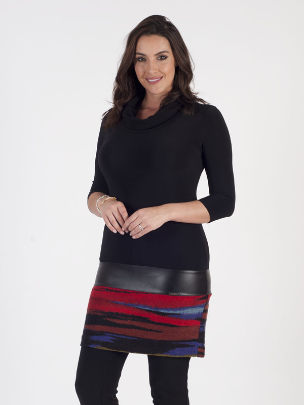 Joseph Ribkoff Tunic Dress - style: tunic; length: mid thigh; neckline: cowl/draped neck; pattern: horizontal stripes; secondary colour: true red; predominant colour: black; occasions: evening; fit: body skimming; fibres: polyester/polyamide - stretch; sleeve length: 3/4 length; sleeve style: standard; texture group: knits/crochet; pattern type: fabric; multicoloured: multicoloured; season: a/w 2016; wardrobe: event