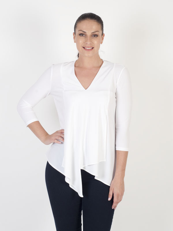 Joseph Ribkoff Ivory Silky V Neck Top - neckline: v-neck; pattern: plain; predominant colour: white; occasions: casual; length: standard; style: top; fibres: polyester/polyamide - stretch; fit: body skimming; sleeve length: 3/4 length; sleeve style: standard; pattern type: fabric; texture group: jersey - stretchy/drapey; wardrobe: basic; season: a/w 2016