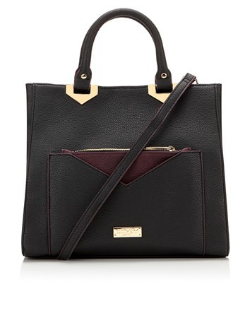 Removable Pouch Pocket Tote Bag - predominant colour: black; occasions: casual, work, creative work; type of pattern: standard; style: tote; length: handle; size: standard; material: faux leather; pattern: plain; finish: plain; season: a/w 2016