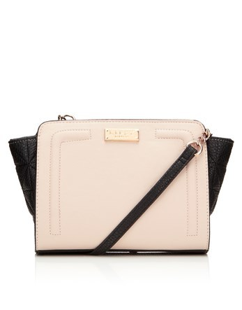 Wing Cross Body Bag - predominant colour: ivory/cream; secondary colour: black; occasions: casual, creative work; type of pattern: standard; style: tote; length: handle; size: standard; material: faux leather; finish: plain; pattern: colourblock; season: a/w 2016; wardrobe: highlight