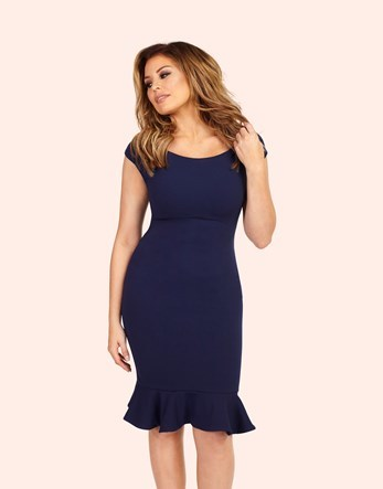 Frill Hem Bodycon Midi Dress - fit: tight; pattern: plain; style: bodycon; predominant colour: navy; occasions: evening; length: on the knee; neckline: scoop; fibres: polyester/polyamide - stretch; sleeve length: short sleeve; sleeve style: standard; texture group: jersey - clingy; pattern type: fabric; season: a/w 2016; wardrobe: event