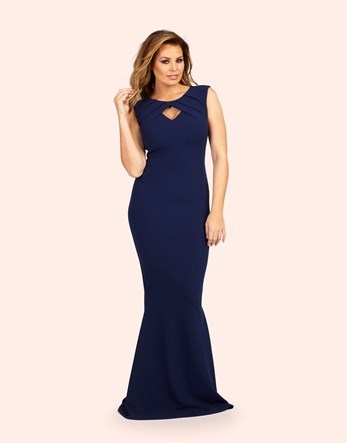 Maxi Dress - fit: tight; pattern: plain; sleeve style: sleeveless; style: maxi dress; predominant colour: navy; occasions: evening; length: floor length; neckline: peep hole neckline; fibres: polyester/polyamide - stretch; sleeve length: sleeveless; texture group: jersey - clingy; pattern type: fabric; season: a/w 2016; wardrobe: event