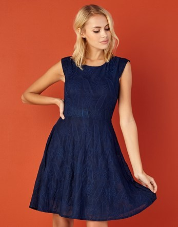Textured Dress - sleeve style: sleeveless; predominant colour: navy; occasions: evening; length: just above the knee; fit: fitted at waist & bust; style: fit & flare; fibres: polyester/polyamide - stretch; neckline: crew; sleeve length: sleeveless; texture group: lace; pattern type: fabric; pattern: patterned/print; season: a/w 2016; wardrobe: event