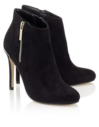 Zip Detail Ankle Boots - predominant colour: black; occasions: evening, creative work; material: suede; heel: stiletto; toe: round toe; boot length: ankle boot; style: standard; finish: plain; pattern: plain; heel height: very high; season: a/w 2016; wardrobe: highlight