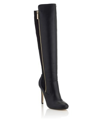Zip Detail High Leg Boots - predominant colour: black; occasions: evening, creative work; heel: stiletto; toe: round toe; boot length: over the knee; style: standard; finish: plain; pattern: plain; heel height: very high; material: faux suede; season: a/w 2016; wardrobe: highlight