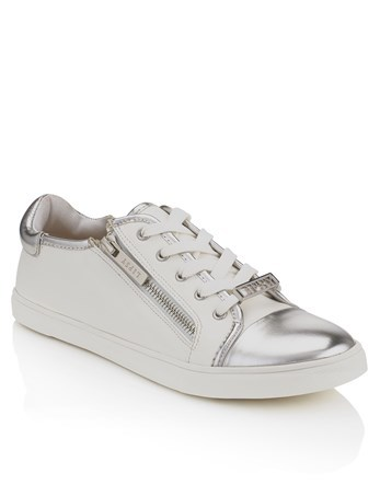 Zip Detail Trainers - secondary colour: white; predominant colour: silver; occasions: casual; material: faux leather; heel height: flat; toe: round toe; style: trainers; finish: plain; pattern: plain; embellishment: toe cap; wardrobe: basic; season: a/w 2016