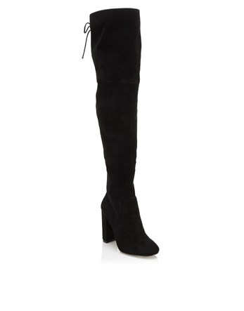 Corset Over Knee Boot - predominant colour: black; occasions: casual, creative work; heel height: high; heel: block; toe: round toe; boot length: over the knee; style: standard; finish: plain; pattern: plain; material: faux suede; season: a/w 2016