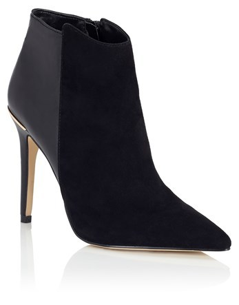 Pointed Boots - predominant colour: black; occasions: evening, creative work; material: suede; heel height: high; heel: stiletto; toe: pointed toe; boot length: ankle boot; style: standard; finish: plain; pattern: plain; season: a/w 2016; wardrobe: highlight