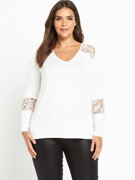 Corded Lace Long Sleeve Jersey Top - neckline: v-neck; pattern: plain; predominant colour: white; occasions: casual, creative work; length: standard; style: top; fibres: polyester/polyamide - 100%; fit: body skimming; sleeve length: long sleeve; sleeve style: standard; pattern type: fabric; texture group: jersey - stretchy/drapey; embellishment: lace; season: a/w 2016