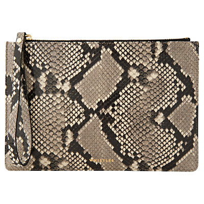 Snake Leather Wristlet, Black/White - secondary colour: taupe; predominant colour: black; occasions: evening, occasion; type of pattern: large; style: clutch; length: hand carry; size: standard; material: leather; pattern: animal print; finish: plain; season: a/w 2016