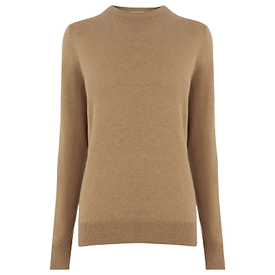 Crew Neck Jumper - neckline: round neck; pattern: plain; length: below the bottom; style: standard; predominant colour: camel; occasions: casual, work, creative work; fibres: cotton - mix; fit: slim fit; sleeve length: long sleeve; sleeve style: standard; texture group: knits/crochet; pattern type: knitted - fine stitch; wardrobe: basic; season: a/w 2016