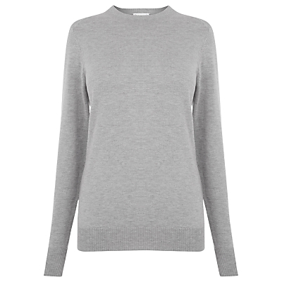Crew Neck Jumper - neckline: round neck; pattern: plain; length: below the bottom; style: standard; predominant colour: light grey; occasions: casual, work, creative work; fibres: cotton - mix; fit: slim fit; sleeve length: long sleeve; sleeve style: standard; texture group: knits/crochet; pattern type: knitted - fine stitch; wardrobe: basic; season: a/w 2016