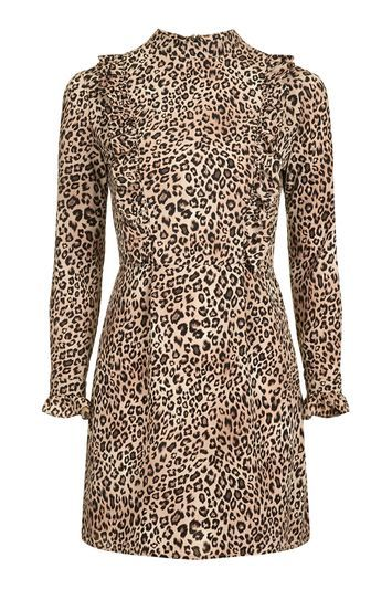 Leopard Print Ruffle Dress - style: shift; length: mini; secondary colour: chocolate brown; predominant colour: nude; occasions: evening, creative work; fit: soft a-line; neckline: collarstand; fibres: polyester/polyamide - 100%; sleeve length: long sleeve; sleeve style: standard; bust detail: bulky details at bust; pattern type: fabric; pattern size: standard; pattern: animal print; texture group: woven light midweight; trends: pretty girl, rebel girl, romantic ruffles; season: a/w 2016; wardrobe: highlight