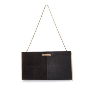 Womens Black Panel Slim Clutch Bag - predominant colour: black; occasions: evening, occasion; type of pattern: standard; style: clutch; length: hand carry; size: small; material: faux leather; pattern: plain; finish: plain; season: a/w 2016; wardrobe: event