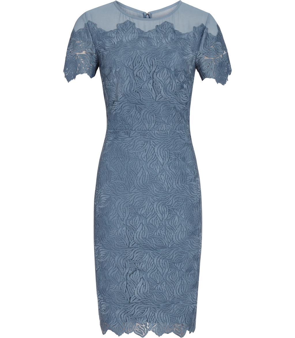 Floran Womens Mesh And Lace Dress In Blue - style: shift; pattern: plain; predominant colour: denim; occasions: evening; length: just above the knee; fit: body skimming; fibres: polyester/polyamide - 100%; neckline: crew; sleeve length: short sleeve; sleeve style: standard; texture group: lace; pattern type: fabric; season: a/w 2016; wardrobe: event