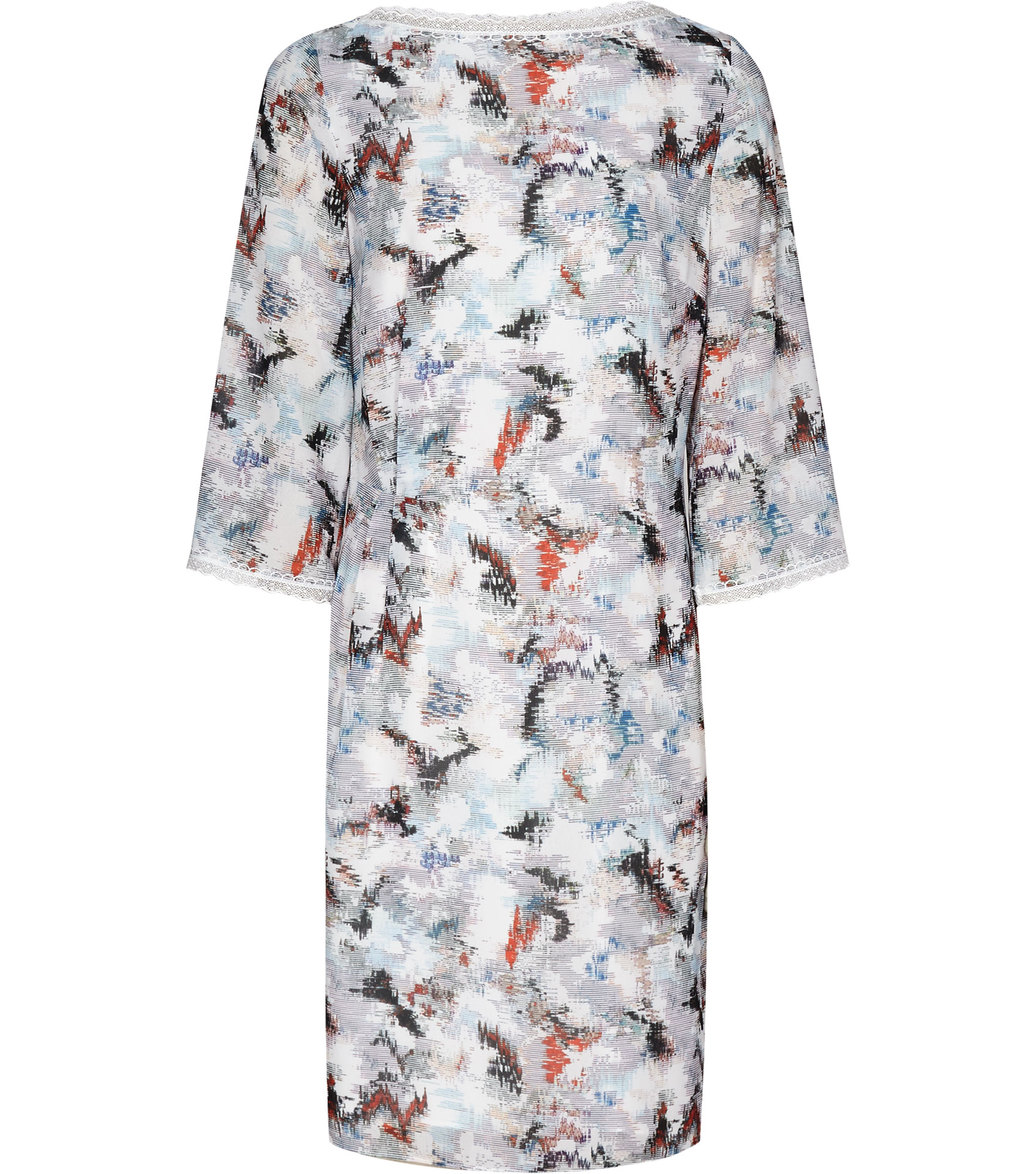 Marianne Womens Blur Print Dress In Cream - style: shift; predominant colour: white; secondary colour: black; occasions: evening; length: just above the knee; fit: body skimming; fibres: polyester/polyamide - 100%; neckline: crew; sleeve length: 3/4 length; sleeve style: standard; pattern type: fabric; pattern: patterned/print; texture group: other - light to midweight; multicoloured: multicoloured; season: a/w 2016; wardrobe: event