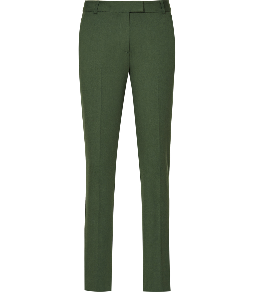 Joanne Womens Cropped Tailored Trousers In Green - length: standard; pattern: plain; waist: mid/regular rise; predominant colour: dark green; occasions: work, creative work; fibres: polyester/polyamide - stretch; fit: slim leg; pattern type: fabric; texture group: woven light midweight; style: standard; season: a/w 2016; wardrobe: highlight
