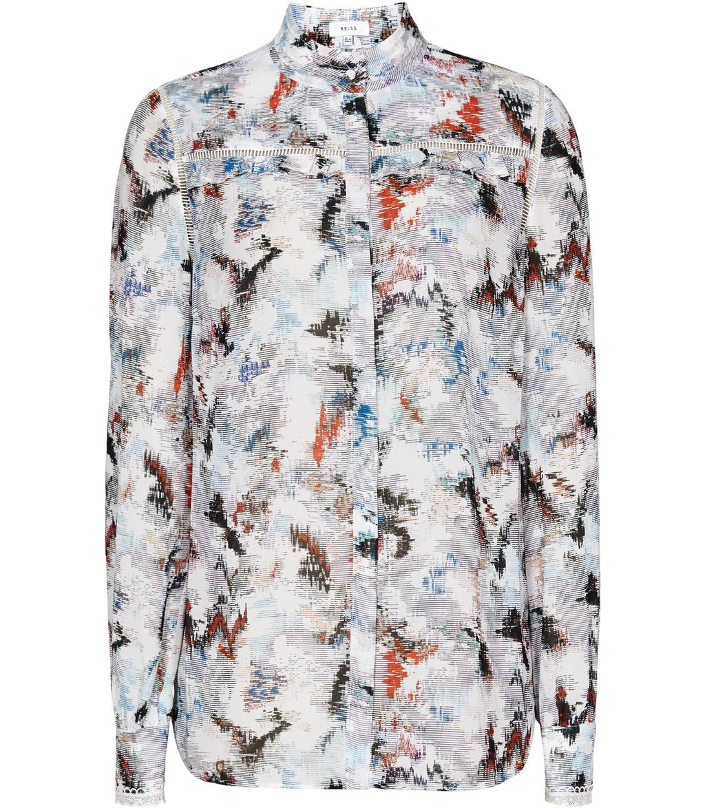 Frost Womens Blur Print Blouse In Cream - style: blouse; secondary colour: ivory/cream; predominant colour: mid grey; occasions: casual, creative work; length: standard; neckline: collarstand & mandarin with v-neck; fibres: silk - mix; fit: straight cut; sleeve length: long sleeve; sleeve style: standard; pattern type: fabric; pattern size: standard; pattern: patterned/print; texture group: woven light midweight; multicoloured: multicoloured; season: a/w 2016; wardrobe: highlight