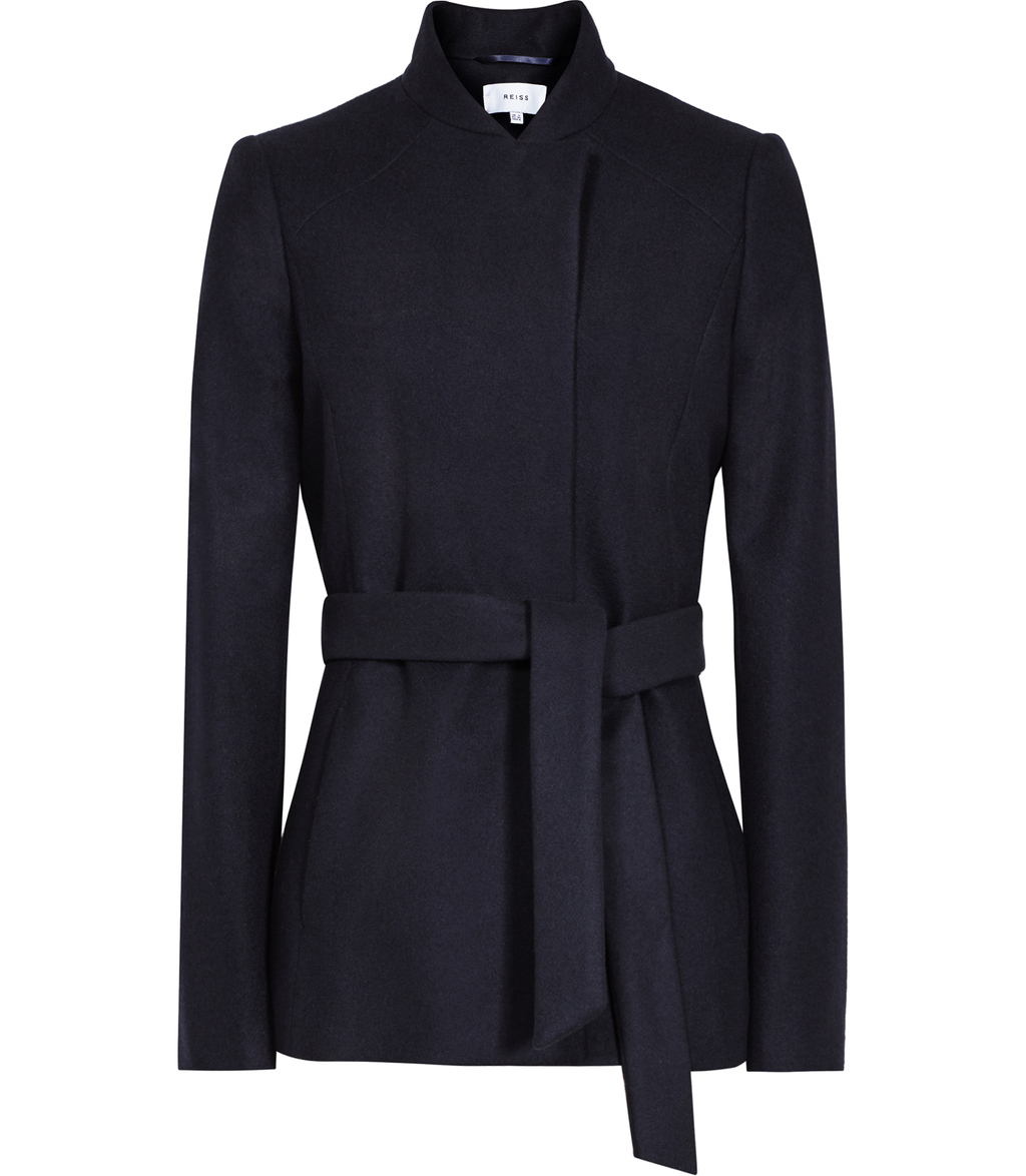 Franklin Womens Belted Coat In Blue - pattern: plain; length: below the bottom; collar: funnel; style: wrap around; predominant colour: navy; occasions: casual, work, creative work; fit: tailored/fitted; fibres: wool - mix; waist detail: belted waist/tie at waist/drawstring; sleeve length: long sleeve; sleeve style: standard; collar break: high; pattern type: fabric; texture group: woven bulky/heavy; wardrobe: basic; season: a/w 2016